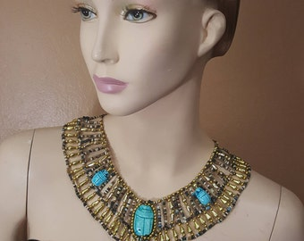 Egyptian Collar Beaded Necklace Handmade for Queen Cleopatra, gold& multi-color, free shipping to USA.