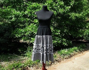 Vintage Hippie Skirt, BLACK & WHITE TIERED Broomstick Skirt, Rayon Gauze Maxi, India print ditzy floral, Long Gypsy Bohemian Festival skirt