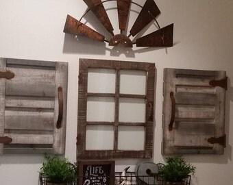 24 Inch Half Windmill Head Rusty Metal-Rustic Farmhouse Windmill-Handmade Rusty Half Windmill Wall Decor-Fixer Upper Windmill-Wedding Decor