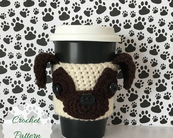 Pug Crochet Pattern, Pug Pattern, Crochet Pug Pattern, Amigurumi Pug, Crochet Pattern Dog, Crochet Pattern, Dog Amigurumi, Mug Cozy Pattern
