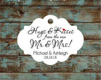 Hugs and Kisses Wedding Reception Favor Tags # 792 Qty: 30 Tags