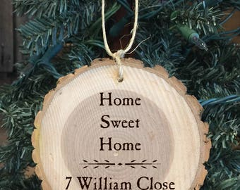 Personalized Wood Ornament Home Sweet Home with the address of new home with year