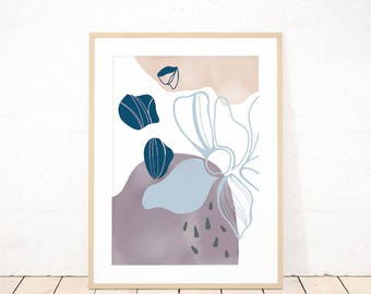 Abstract watercolor floral wall art, botanical with abstract shapes art print, physical print wall art, minimalist floral illustration print