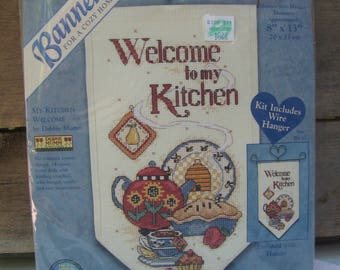 Debbie Mumm Banner Cross Stitch Kit, My Kitchen Welcome #72630, Cozy Home Banner, Dimensions, 14 Count, Complete Kit