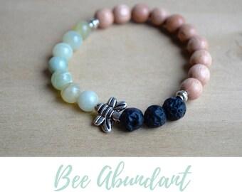 Serpentine Bracelet / boho bracelet ideas, save the bees, queen bee jewelry,prosperity abundance bracelet,serpentine stone,heart chakra yoga