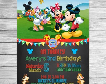 Mickey Mouse Clubhouse Invitation Chalkboard // Mickey Mouse Clubhouse Birthday Party // Mickey Mouse Clubhouse Invite Printable Favors
