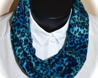 Blue Leopard print Infinity Scarf