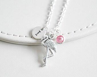 Flamingo Necklace, Flamingo Gift, Personalized Animal Gifts, Pink Flamingo, Flamingo Charm, Silver Bird , Bird Pendant,  Bird Jewelry