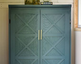 Storage Cabinet // Modern Farmhouse // Fixer Upper // Barn Doors // Blue Green // Modern Brass Pulls // Minneapolis, MN