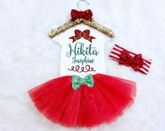 Baby's First Christmas Outfit. Custom Christmas Outfit. Christmas Bodysuit and Tutu. Christmas Outfit with name. First Christmas Shirt