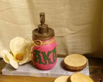 Mason Jar soap dispenser, AKA Decor, AKA Sorority, Home Decor,