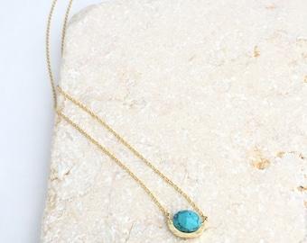 Turquoise Howlite Stone Necklace,Stone Necklace,Danity Necklace,Turquoise Necklace,Marble Necklace,Boho Necklace,Gold Necklace,Oval Necklace