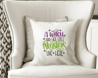 Witch Lives Here, Halloween Decorations, Throw Pillow, Halloween Decor, Halloween Pillow, Witch Pillow, Halloween Home Decor, Witch, Salem