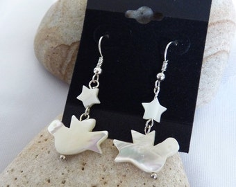 Dove and Star Mother of Pearl Earrings
