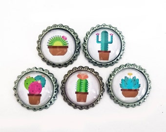 Tappins brooch-Cactus and succulent illustrations-hand-Worked with glass cabochons