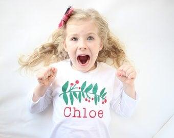 Christmas Shirt for Girls - Christmas Shirt for Kids - Woodland Christmas - Christmas Photos Outfit - Hipster Christmas Shirt