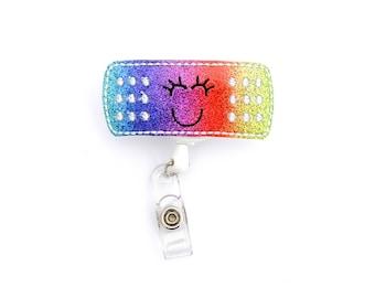 Bandaid badge reel - Bandaid badge clip - Glitter badge reel -Band aid badge reel - Bandadge - Badge clip - Glitter badge - ID holder