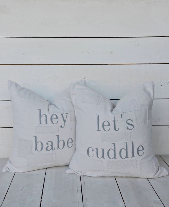 hey babe   let's cuddle set of 2 pillow covers. available in 18x18, 20x20, 16x24 and 16x26. patches are optional