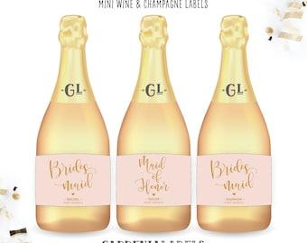 Bridesmaid Proposal Mini Champagne Label, Personalized Maid of Honor Thank you, Ask Bridesmaid, Custom Bridesmaid gift, Bridesmaid Box Item
