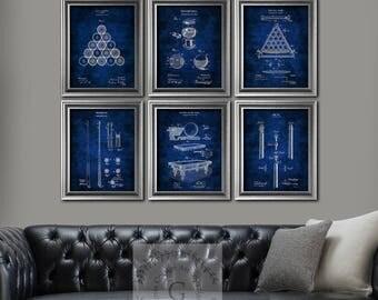 Billiards decor set of 6 art prints Billiards balls Pool Table Billiard table, Billiard Cue Blueprints Billiards gifts for him