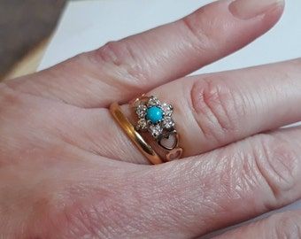 9ct Turquoise and Cubic Zirconia Ring, Vintage