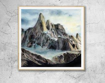 Mountains Art Print, Watercolor Mountains, Mountain Wall Art, Nature Print, Abstract Art,Fine Art Prints,
