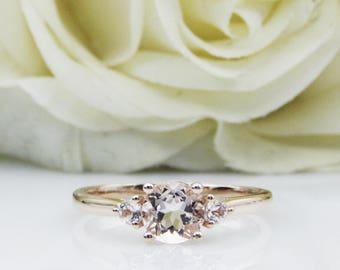 6mm Round Cut Natural Morganite Center,14K Rose Gold Natural Gem Engagement Ring,Ring For Women Pink Morganite 3-Stone Style(R0814)