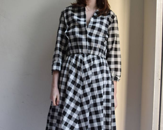 Black and White Checkered Cotton Swing Dress.