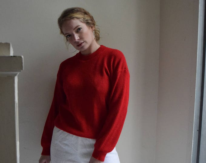 Red Chunky Pullover Sweater
