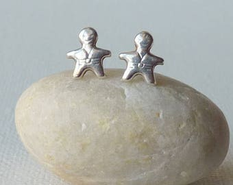 Sterling Silver Little People Earrings Small  Man Stud Earrings, Girls Stud Figural Earrings, Tiny Earring Girls Jewelry, Minimalist Stud