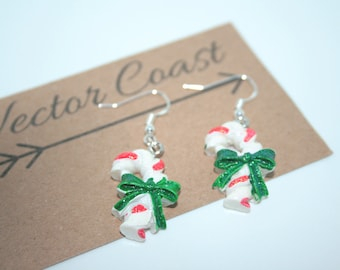 SALE, Candy Cane Earrings, Traditional Christmas, Christmas, Gift For Her, Festive Jewellery, Festive Earrings, Christmas Jewellery