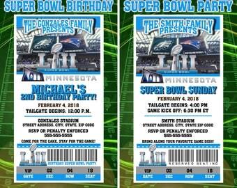 Super Bowl LII Invitations Birthday Party Invitations Patriots vs Eagles Football Super Bowl Sunday Championship Minneapolis Minnesota