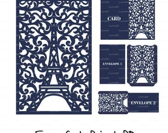Laser Cut Templates, Paris Eiffel Tower Invitation Card cutting files (svg, dxf, eps, cdr vector) Silhouette Cameo Cricut Instant Download