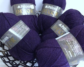 Rich Aubergine Wine Patons Wool Blend Yarn, Thick Patons Decor Yarn for Knitting Crocheting Crafting Fiber Art Projects, Luxury Yarn Destash