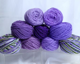 9 Pc Bundle of Yarn Variegated Yarn & Shades of Purple Worsted Yarn for Knitting Crocheting and Fiber Projects