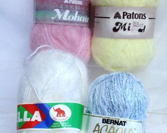 Pink Wool Blue Cotton Yarn Patons Wool Bella White Wool Made in Italy Shimmering Blue Yarn Art Yarn Bundle Patons Misty Yellow Yarn