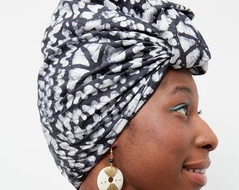 Foulard- Teinture bantu balai noir et blanc