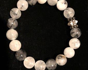 Tourmaline Quartz Crystal Healing Gemstone Bracelet
