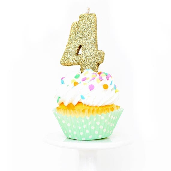 """3"""" Number 4 Candle, Giant 4 Candle, Large Gold Candle, Four Glitter Candle, Gold Birthday Candle, Glitter Birthday, Gold Party Decor"""