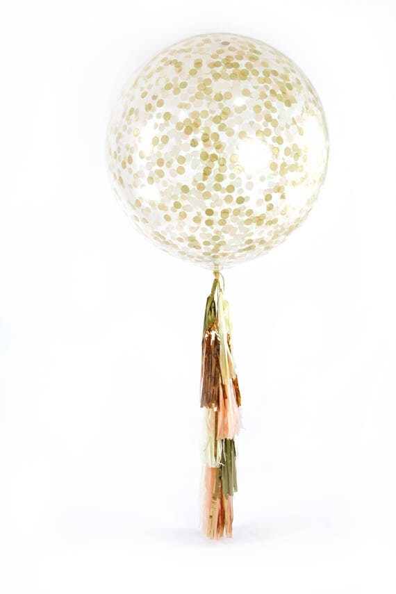 "36"" Champagne Kisses Balloon, Giant Clear Balloon, Confetti Balloon, Tassel Balloon, First Birthday Wedding Decor Bridal Shower Baby Shower"