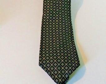 Vintage gray Diamond silk Golden House tie, Custom Cravats, Mens silk tie, 58 Inches long, mens tie accessorries, gray and black