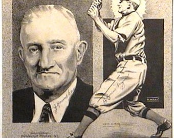 Honus Wagner Autograph on Pen and Ink Drawing 1934 Baseball Old Timer Signed Twice Pittsburgh Pirates