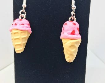 Strawberry Ice Cream Cone Earrings - Dangle - Gift - Birthday - Anniversary - Polymer Clay - Ice Cream Cone - Unique - Food Jewelry  - Pink
