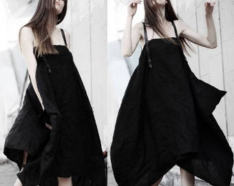 Black linen wrinkled parachute dress