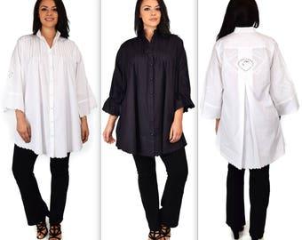 Oversized Shirt, Plus size shirt, White Shirt, Cotton Blouse, Embroidered Shirt, Night Shirt, Sleep wear, XL/1XL,2XL/3XL,4XL/5XL