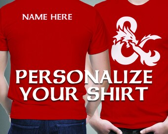 Personalize Your Shirt - Add Name to Back of Shirt - Customize Your Shirt