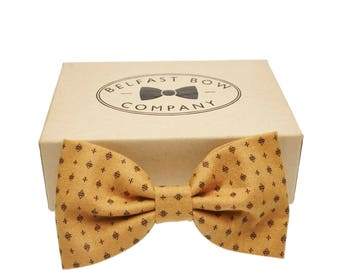 Handmade Classic Print Bowtie in Gold/Mustard - Adult & Junior sizes available