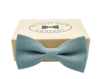 Irish Linen Bow Tie in Duck Egg Blue Aqua - Adult & Junior sizes available
