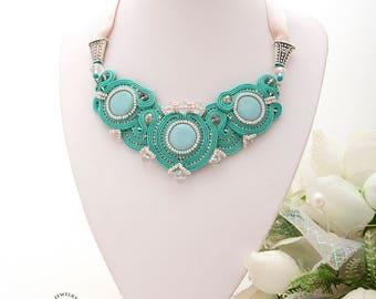 Mint Green Bib Necklace Dusty Rose Bib Necklace Pink Wedding Soutache Necklace Bridal Necklace