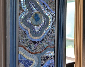 mosaic with blue and agate